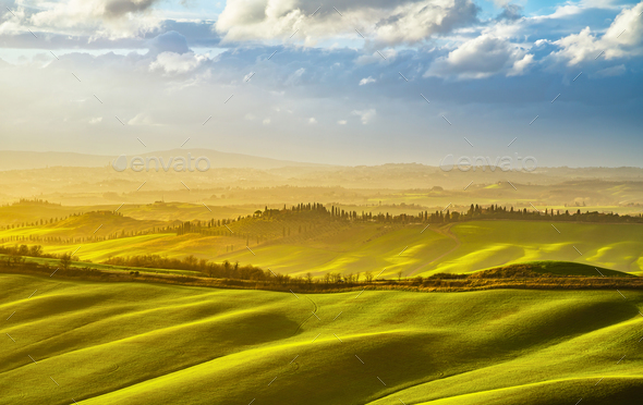 Tuscany misty panorama at sunset, rolling hills, fields, meadow.