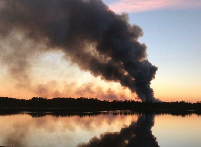 burning smoke columns